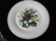 "VINTAGE GILDED LARGE DISPLAY PLATE SPRING FLORAL BOUQUET CENTRE 10.75"" SHELTONIA"
